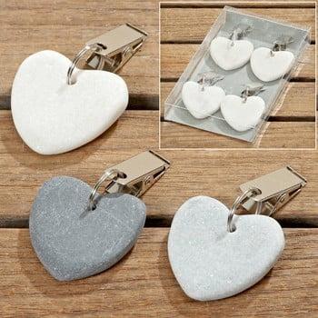 Set 4 decorațiuni din piatră Boltze Pin Up Heart, gri de la Boltze