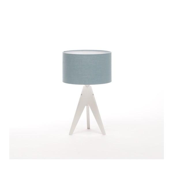 Modrá  stolní lampa Artista, bílá lakovaná bříza, Ø 25 cm