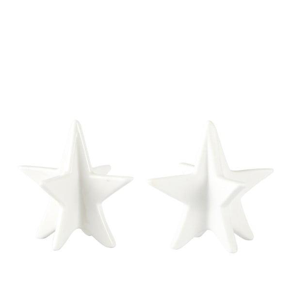 Sada 2 dekorativních hvězd KJ Collection White Matt, 8 cm