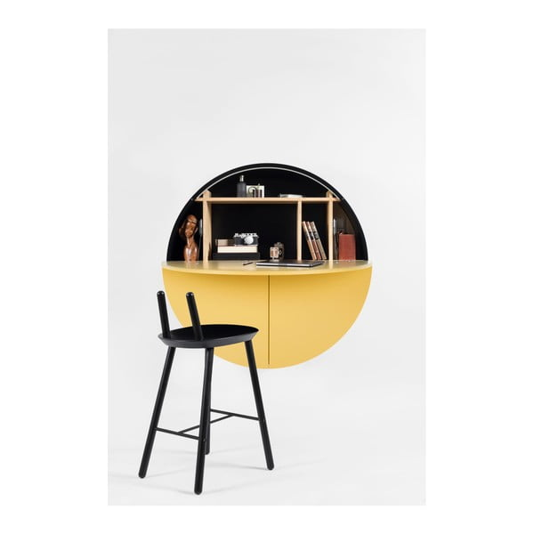 Žlutočerný multifunkční nástěnný stůl EMKO Pill