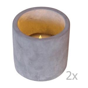 Set 2 lumânări decorative cu LED Best Season Cemmy, gri