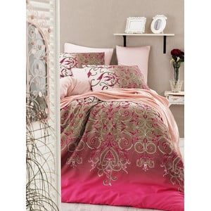 Lenjerie de pat cu cearșaf Vitaly Pink, 200 x 220 cm