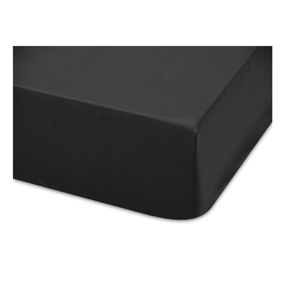Černé bavlněné elastické prostěradlo Boheme Basic, šířka80cm