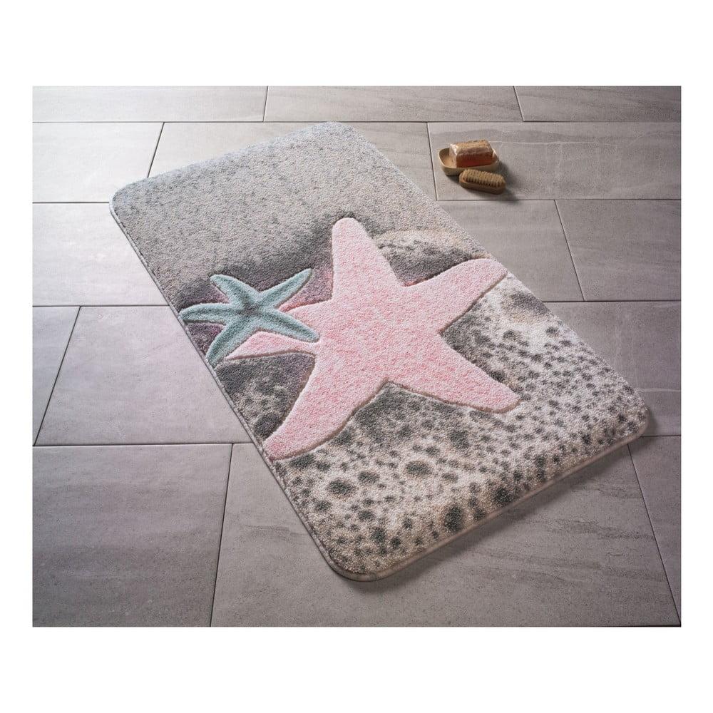 Vzorovaná růžová předložka do koupelny Confetti Bathmats Starfish, 80 x 140 cm
