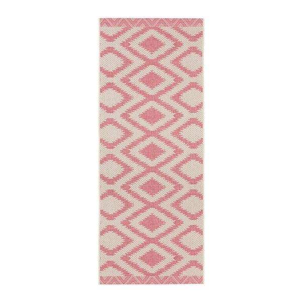 Růžovošedý běhoun vhodný i na ven Bougari Kalora, 70x200 cm