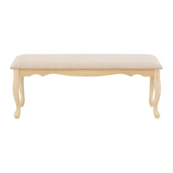 Kremowa ławka z drewna kauczukowca Støraa Charles, 90x44cm