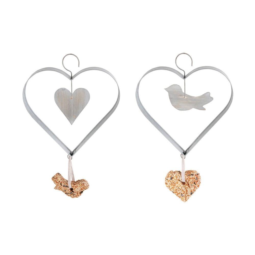 Sada 2 zinkových krmítkek s dřevěnou aplikací Esschert Design Heart, výška23,5cm