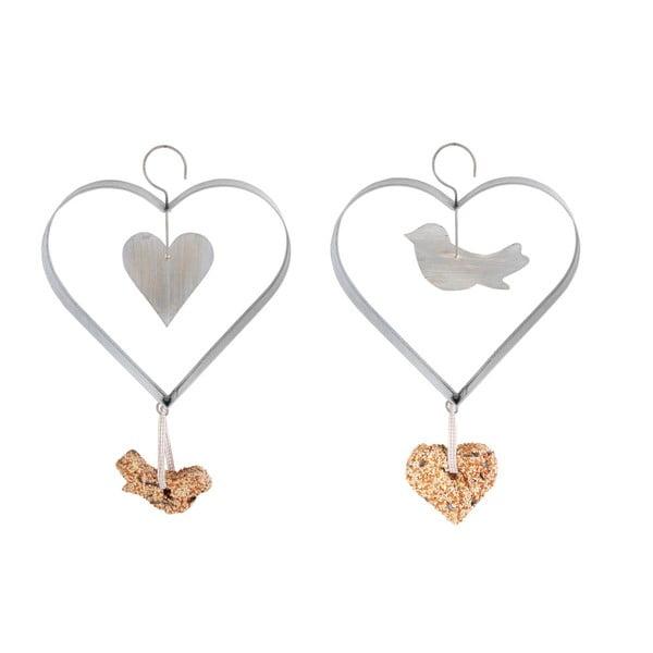 Zestaw 2 cynkowych karmników Esschert Design Heart, wys. 23,5 cm