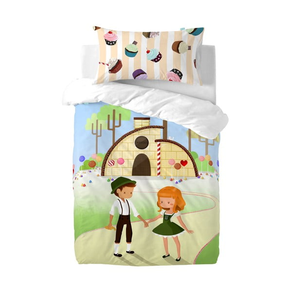 Povlak na peřinu a polštář Mr. Fox Candy House, 115x145cm