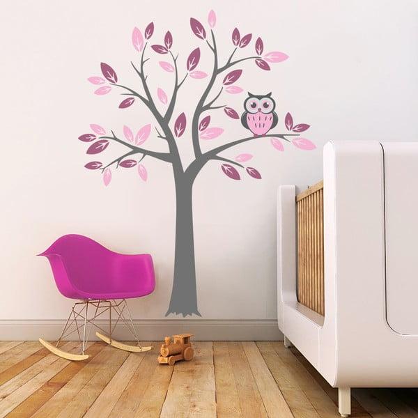 Samolepka na stěnu Strom a růžová sova, 2 archy, 70x50 cm