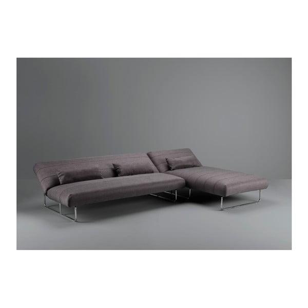 Tmavě šedá rozkládací pohovka / rohová lenoška Design Twist Davaly