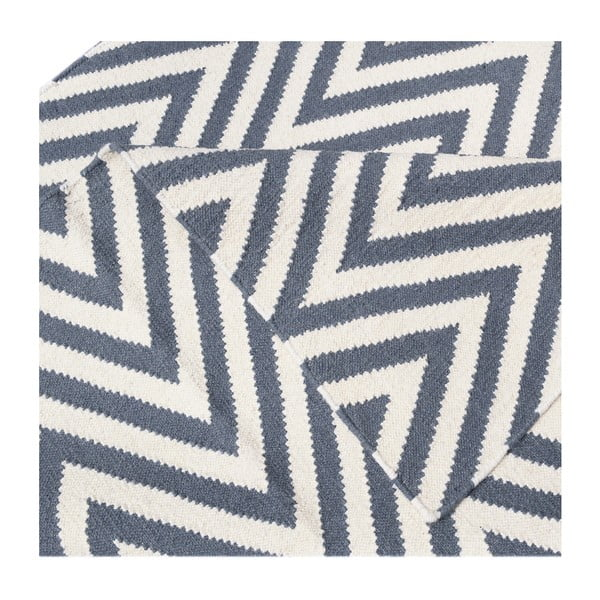 Vlněný koberec Zig Zag Grey, 90x60 cm
