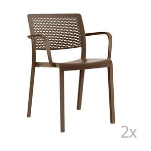 Sada 2 hnědých zahradních židlí s područkami Resol Trama