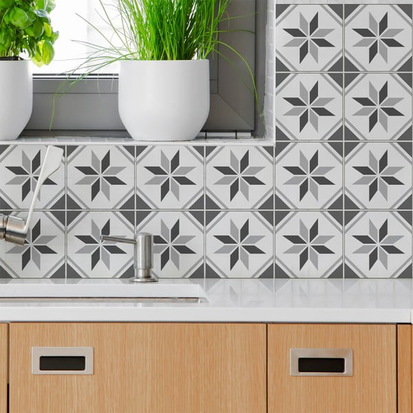 Set 60 autocolante de perete Ambiance Cement Tiles Numa, 15 x 15 cm