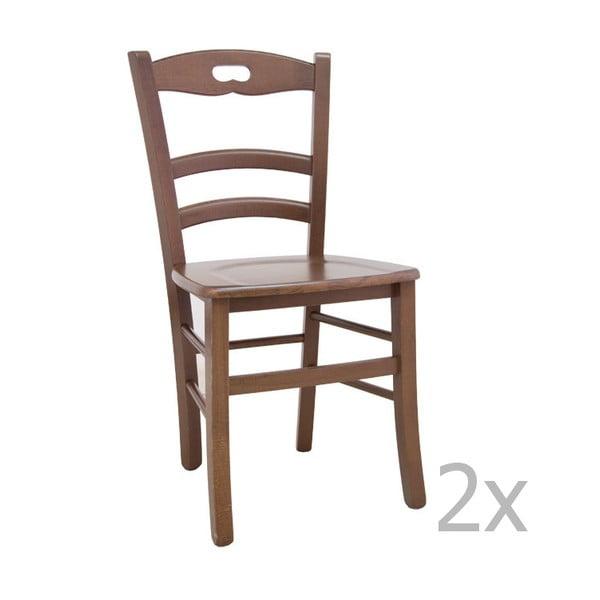 Sada 2 světlých dřevěných jídelních židlí Castagnetti Lavagna