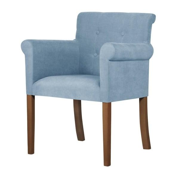Světle modrá židle s tmavě hnědými nohami z bukového dřeva Ted Lapidus Maison Flacon