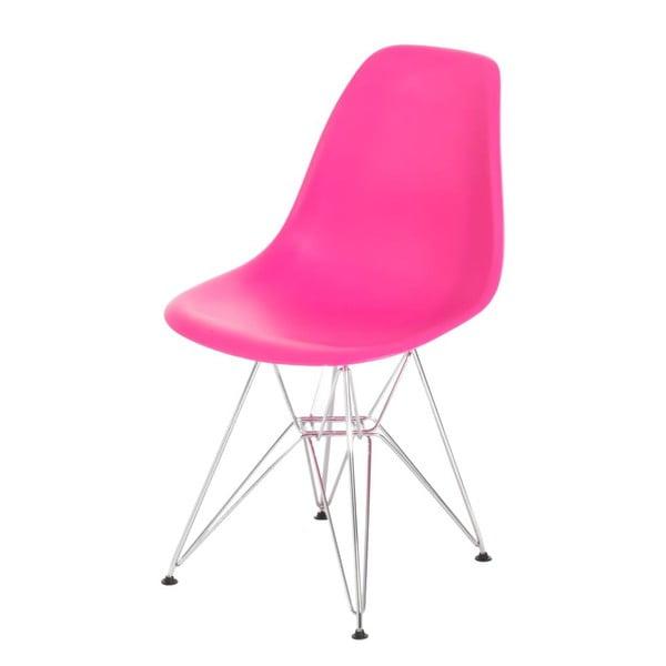 Růžová židle D2, chromové nohy