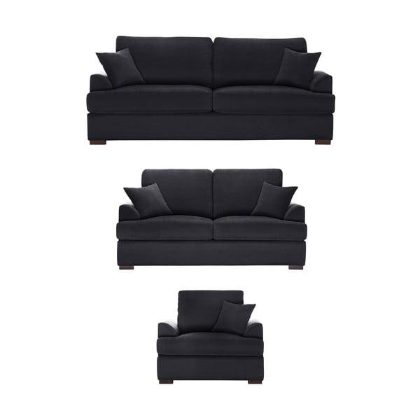 Trojdílná sedací souprava Jalouse Maison Irina, černá