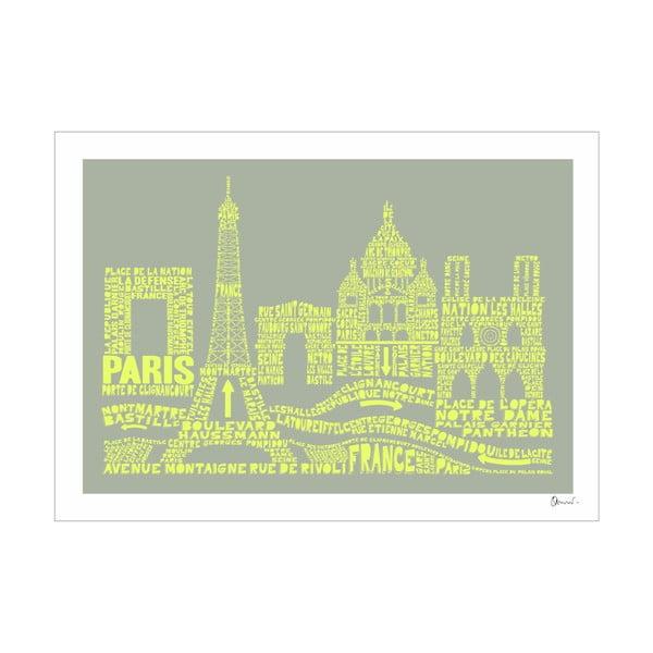Plakát Paris Grey&Yellow, 50x70 cm