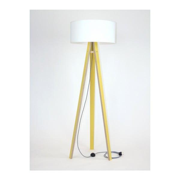 Wanda sárga állólámpa, fehér búrával és fekete-fehér kábellel - Ragaba