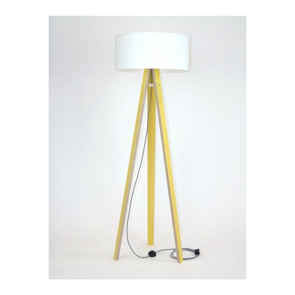 Žltá stojacia lampa s bielym tienidloma čierno-bielym káblom Ragaba Wanda
