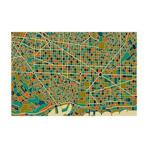 Tablou Homemania Maps Barcelona Green, 70 x 100 cm