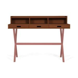Pracovní stůl z ořechového dřeva s růžovými kovovými nohami HARTÔ Hyppolite, 120x55cm