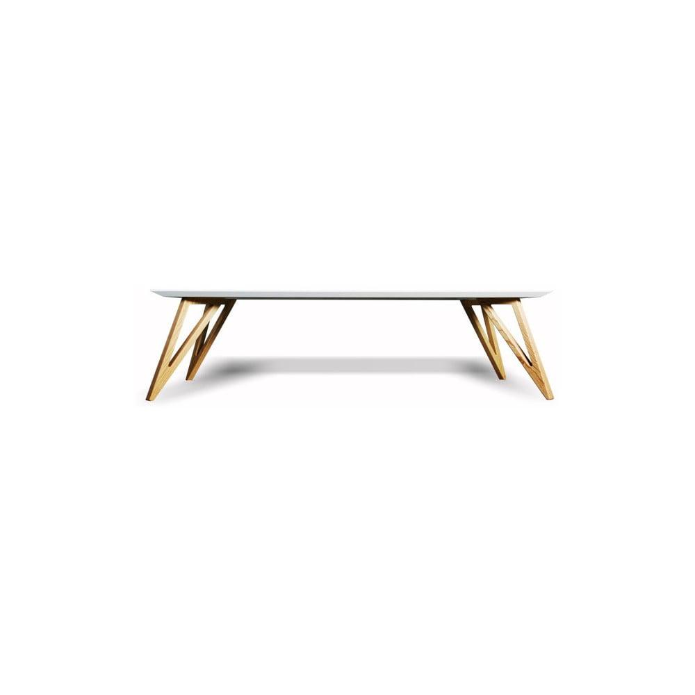 Bílý konferenční stolek z masivního jasanového dřeva Charlie Pommier Triangle, 120 x 50 cm