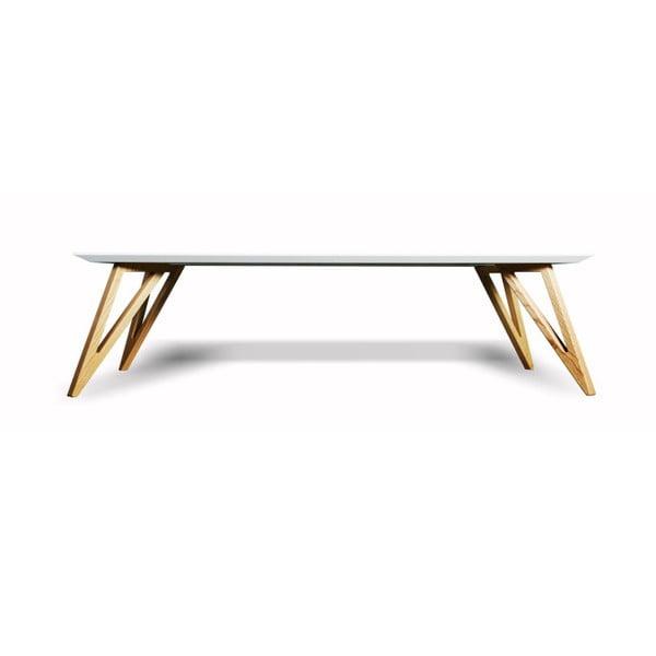 Bílý konferenční stolek z masivního jasanového dřeva Charlie Pommier Triangle, 100x70cm