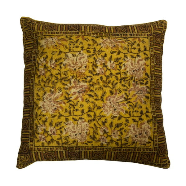 Žlutý polštář Dutchbone Indian, 50x50cm