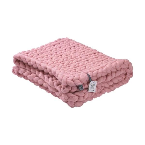 Różowy ręcznie tkany koc z wełny merynosa WeLoveBeds, 180x140 cm