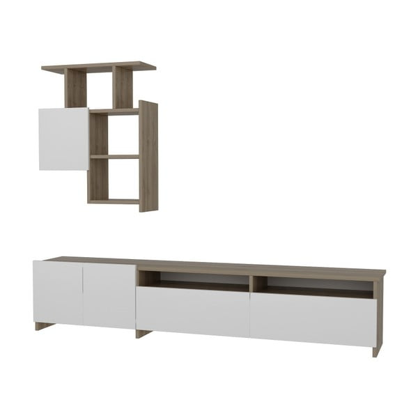 Komplet białej szafki pod TV i półki z detalami z dekorem drewna orzecha Gardo Mariposa