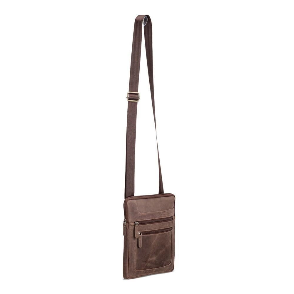 Tmavě hnědá kožená taška přes rameno pro iPad Packenger