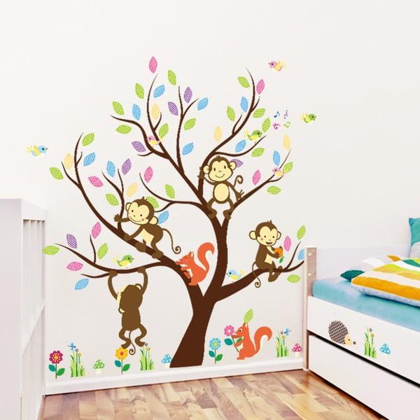 Zestaw dziecięcych naklejek ściennych Ambiance Monkey On The Tree