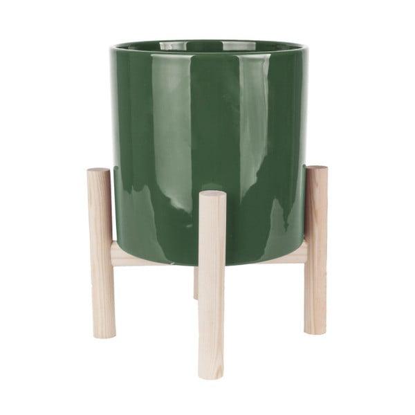 Zielona doniczka ceramiczna na podstawce z drewna sosnowego PT LIVING Trestle