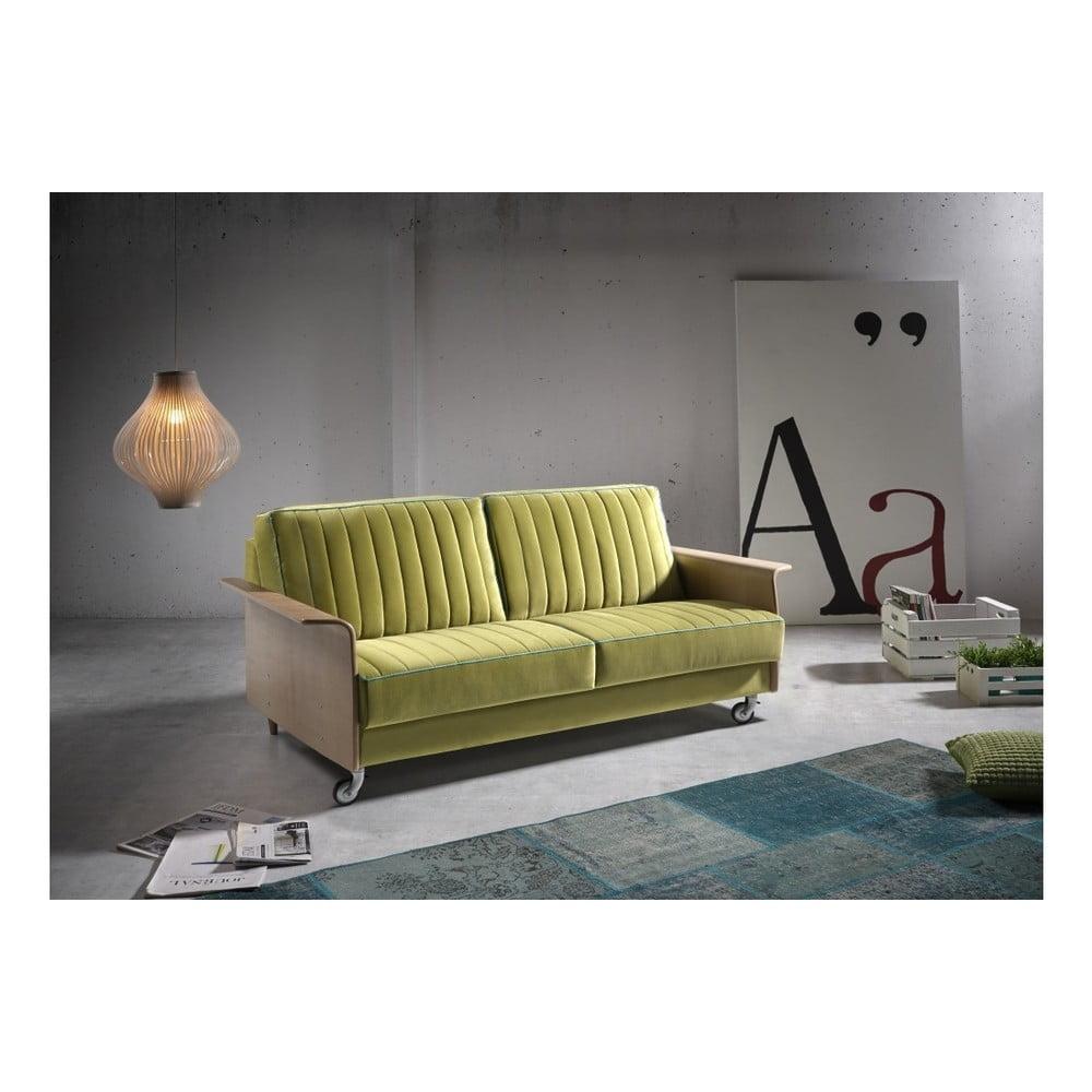 Zelená rozkládací pohovka s dřevěnými područkami Suinta Urbino, šířka 174 cm