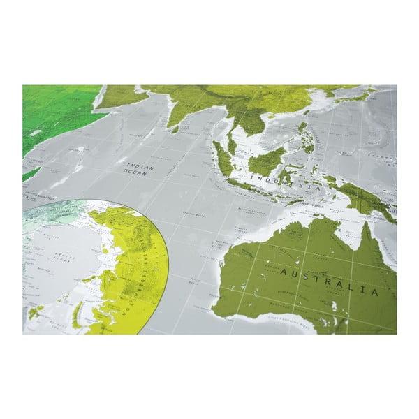 Magnetická mapa světa Huge Future Map, 196x100 cm, zelená