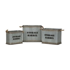 Set 3 cutii metalice pentru depozitare Mauro Ferretti Barell