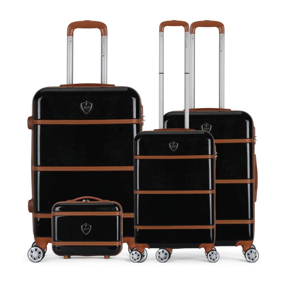 Sada 4 černých cestovních kufrů na kolečkách GENTLEMAN FARMER Integre & Vanity Duro