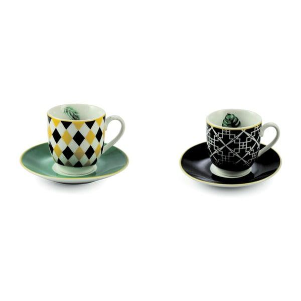 Sada 6 porcelánových šálok s tanierikom Villa d'Este Mykonos Urban Jungle, 90 ml