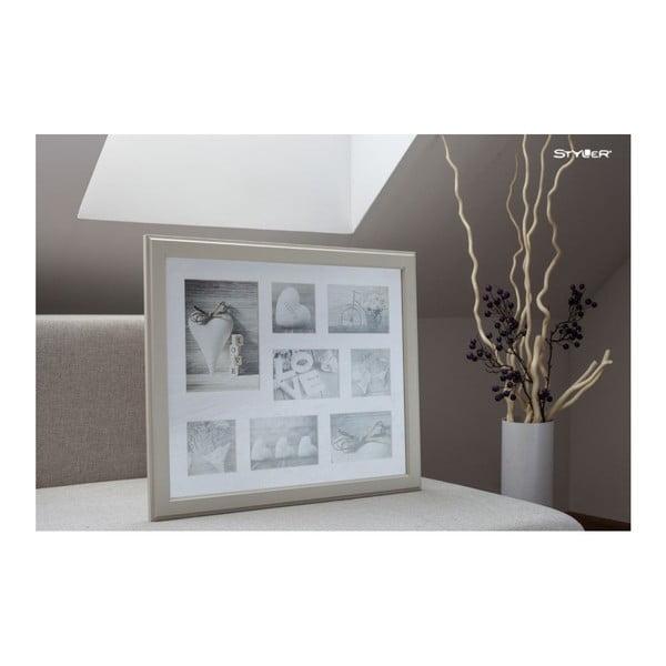 Béžový rámeček na 8 fotografií Styler Malmo, 51x41cm