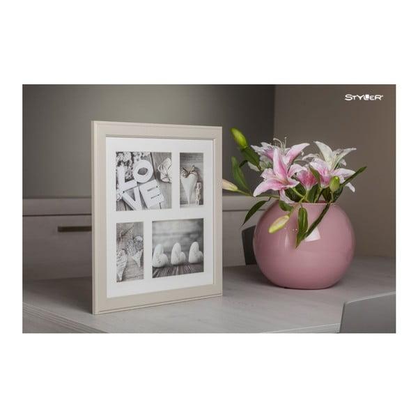 Béžový rámeček na 4 fotografie Styler Malmo, 39x39cm
