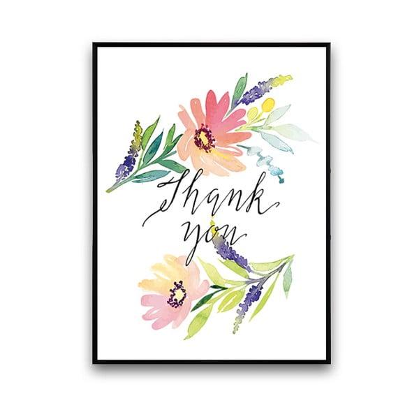 Plakát s květinami Thank You, 30 x 40 cm