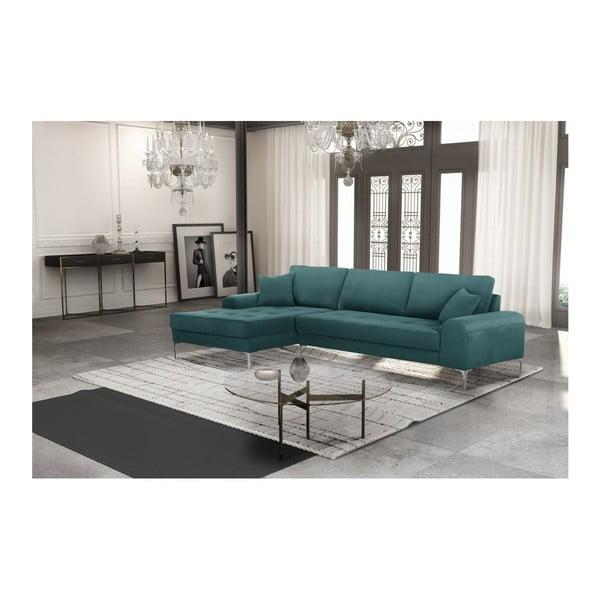 Set canapea albastră cu șezut pe partea stângă, 4 scaune crem, o saltea 160 x 200 cm Home Essentials