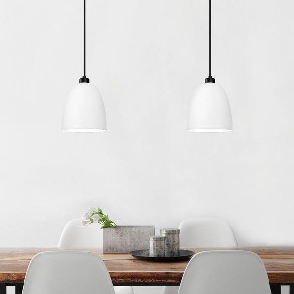 Bílé dvojité matné závěsné svítidlo s černým kabelem Sotto Luce Awa
