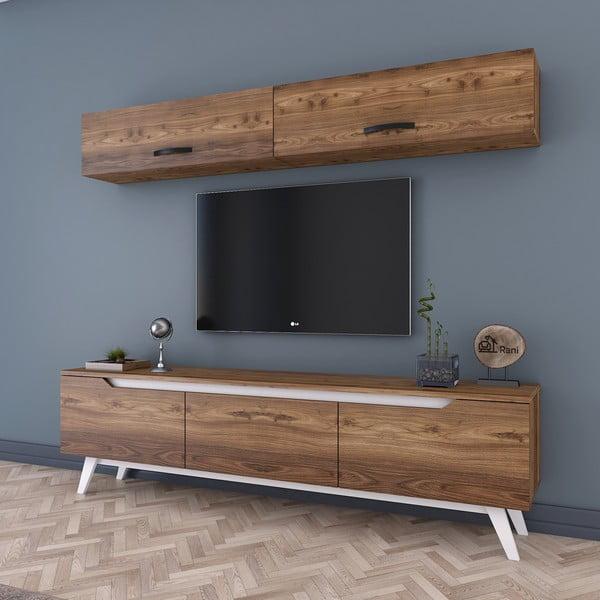 Zestaw szafki ściennej i szafki pod TV w dekorze drewna Wren
