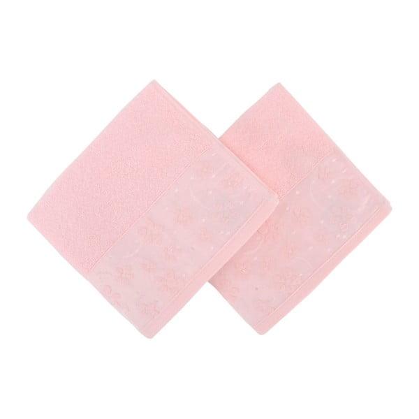 Sada 2 světle růžových ručníků z čisté bavlny Mariana, 50 x 90 cm