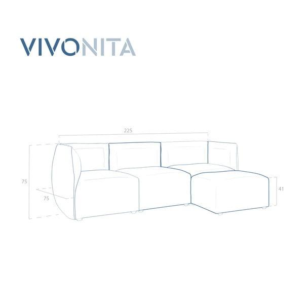 Pískově béžová třímístná modulová pohovka s podnožkou Vivonita Velvet Cube