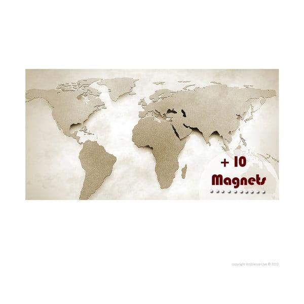 Hartă a lumii magentică Ambiance cu magnete, 62 x 120 cm