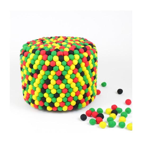 Ručně vyrobený kuličkový puf One Love, kulatý
